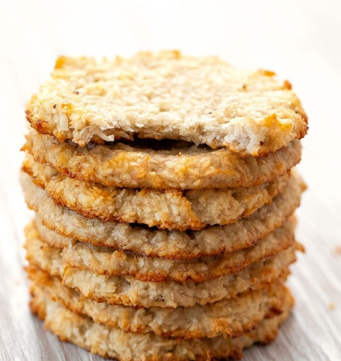 a stack of coconut cookies.