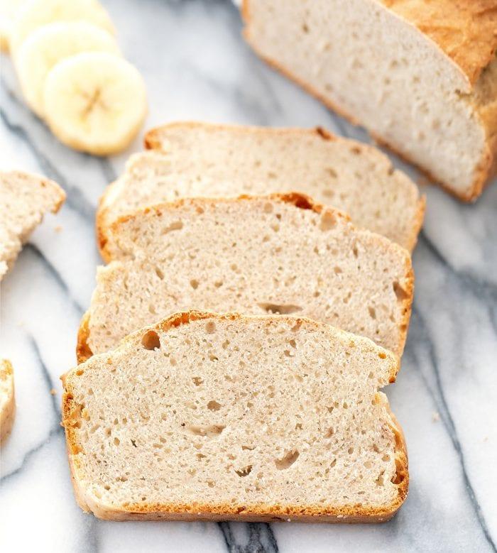 three slices of banana bread.
