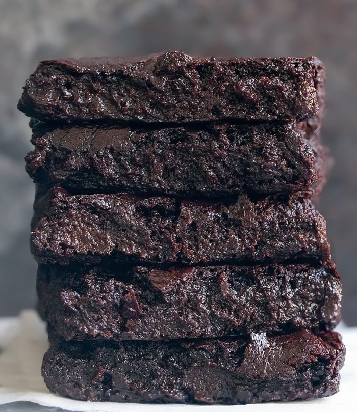 a stack of five brownies.