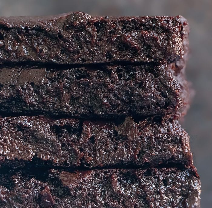 close-up shot of of a stack of brownies.