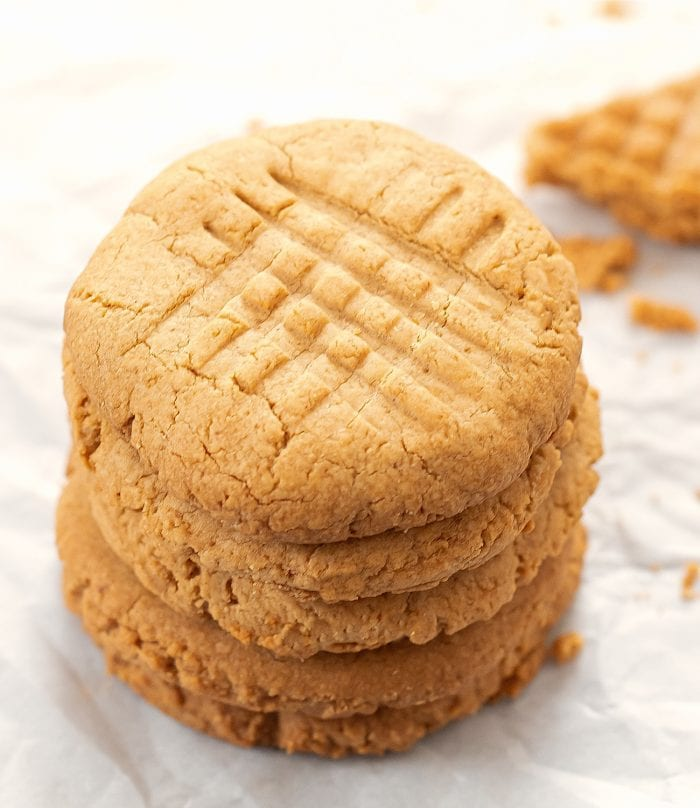 overhead shot of a stack of healthy oat cookies.