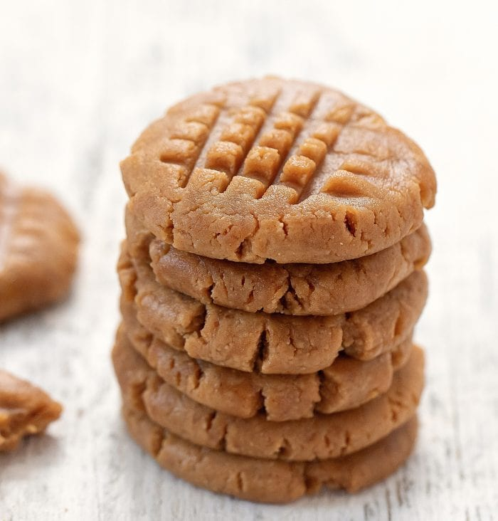 a stack of no bake peanut butter cookies.