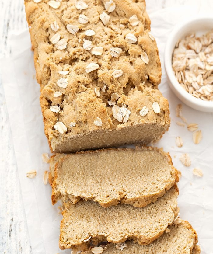 overhead shot of a loaf of oat bread.