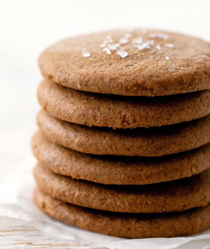a close-up of a stack of almond cookies.