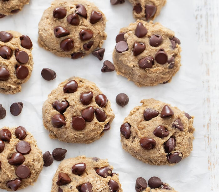 overhead photo of cookies lined up on a work surface.