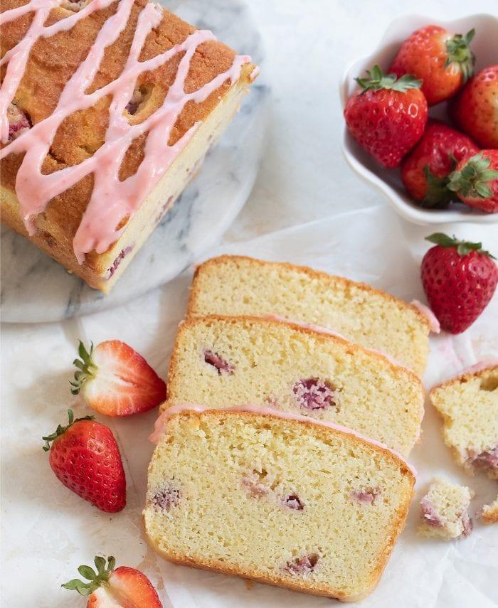 overhead photo of three slices of cake.