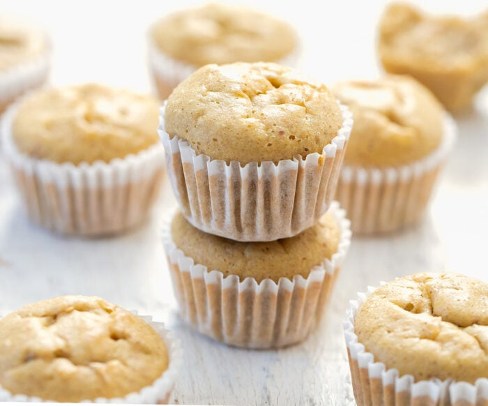 two peanut butter muffins stacked on top of each other.