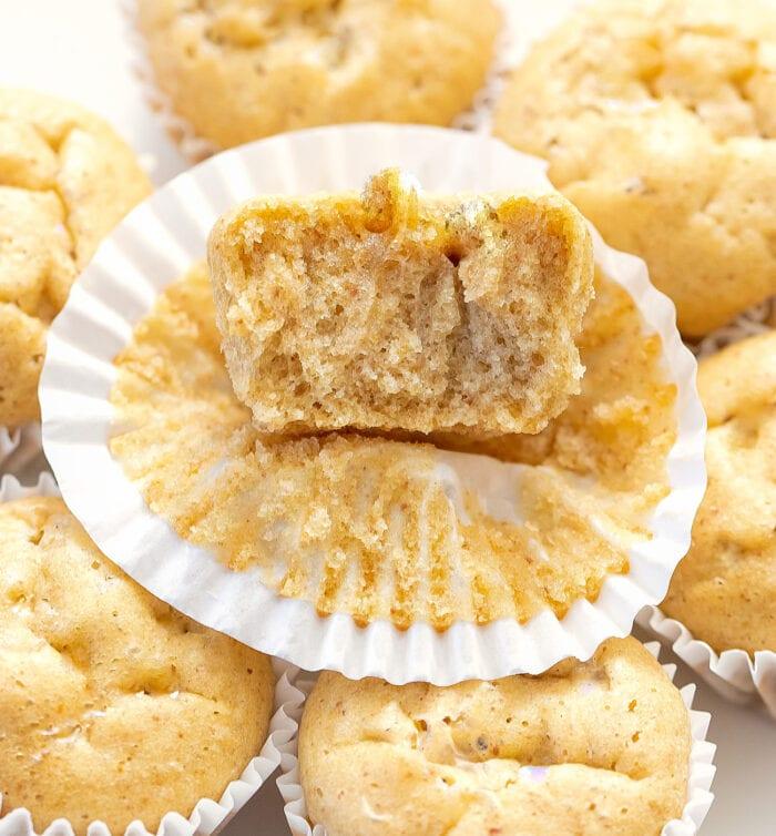 close-up shot of a half a muffin.