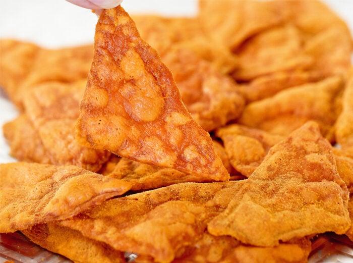 close-up shot of a chip.
