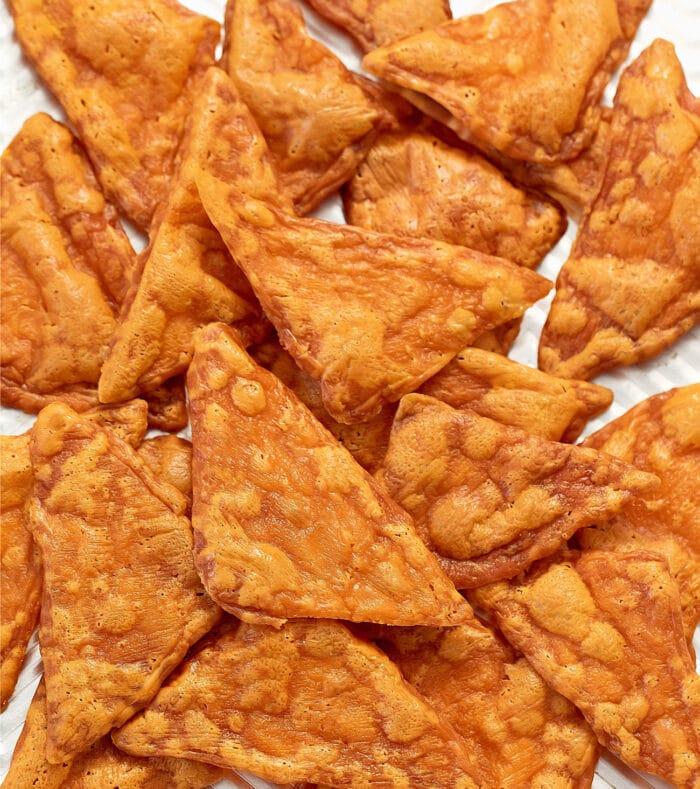 overhead shot of keto doritos.