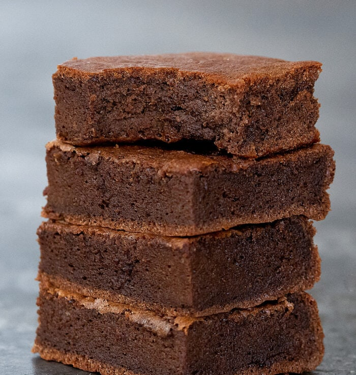 close-up shot of a stack of brownies.
