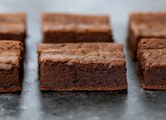 close-up shot of a brownie.