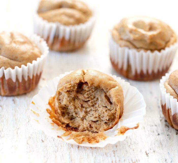 half a muffin in a muffin liner.