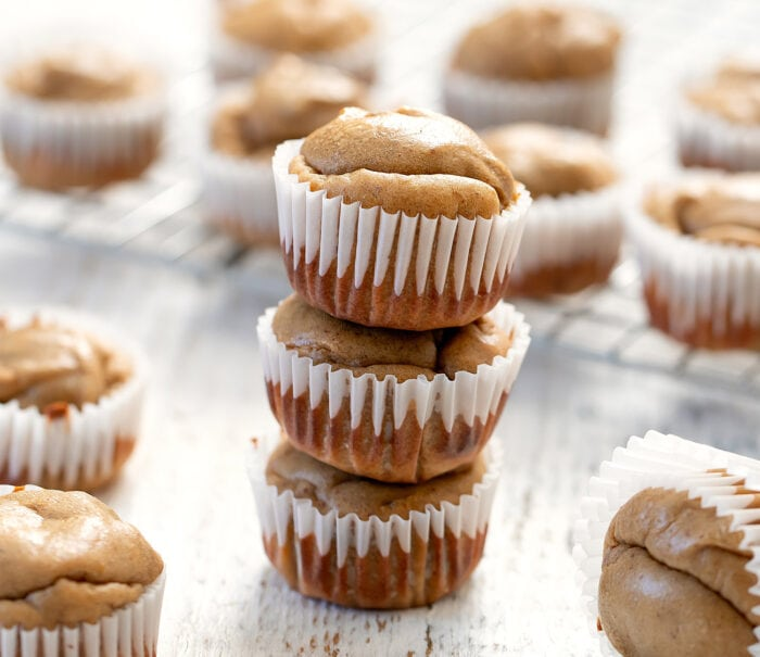 a stack of three muffins.