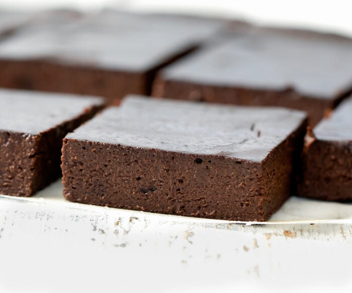 brownies lined up in rows.