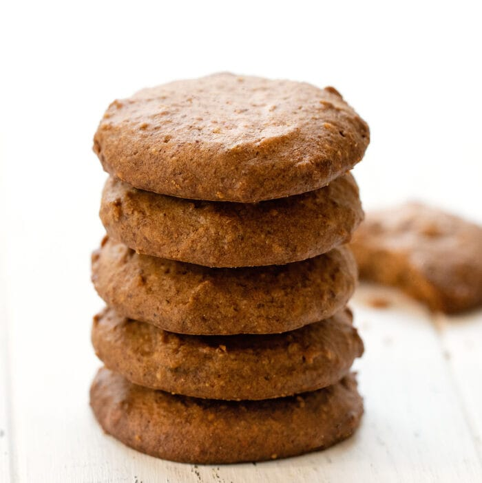 a stack of almond cookies.
