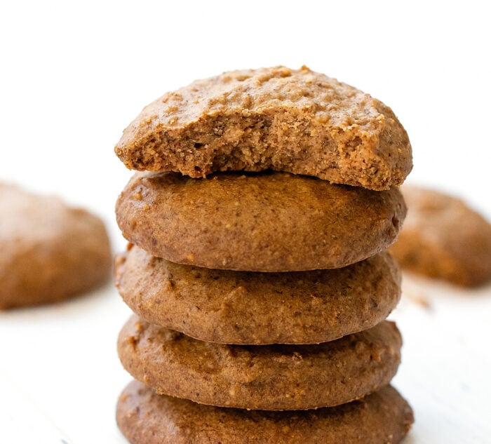 close-up of a stack of cookies.