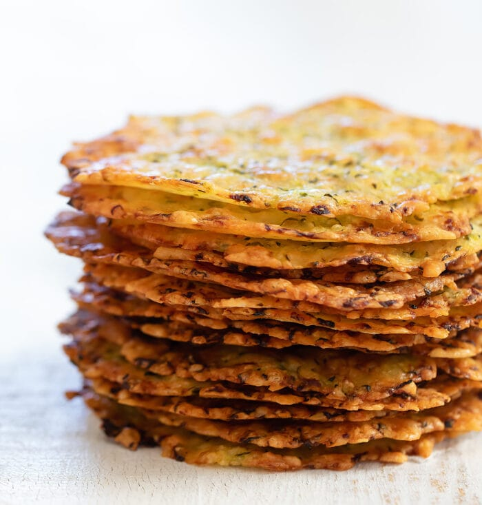 a stack of zucchini chips.