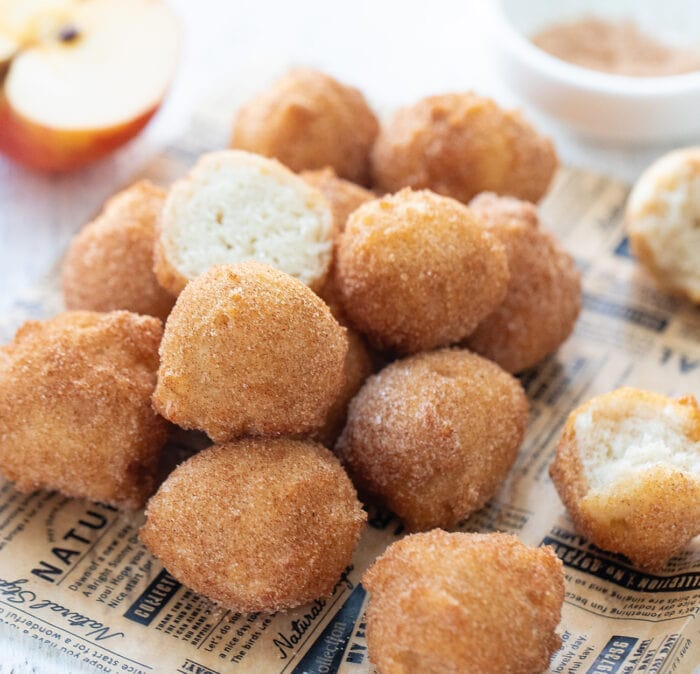 a pile of apple donut holes.