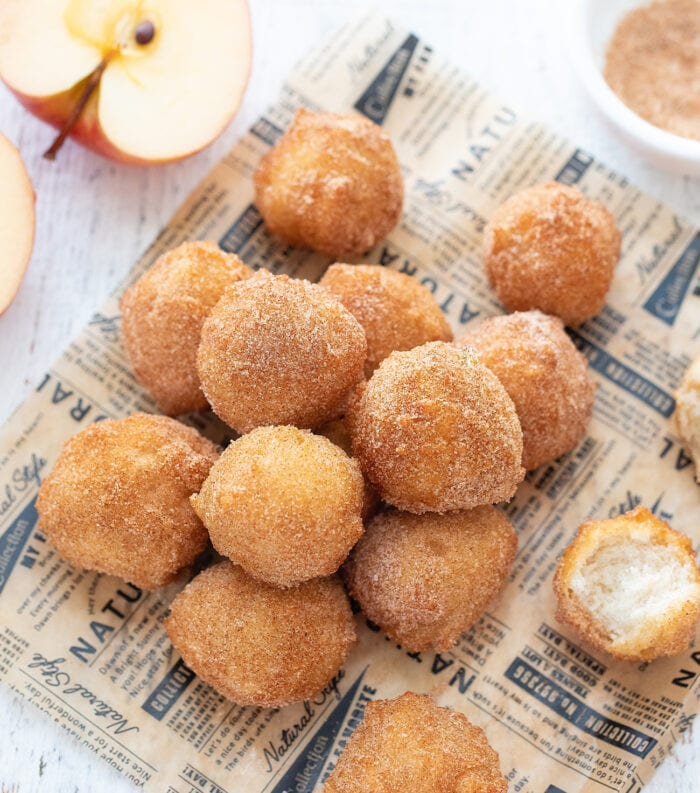 overhead shot of a pile of donut holes.