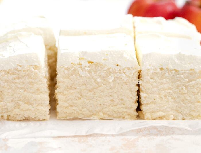 close-up shot of pieces of cake.