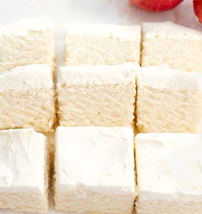 slices of frosted apple cloud cake.