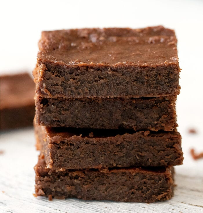 a stack of four nutella brownies.