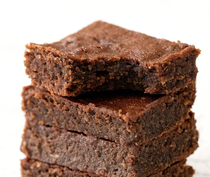 close-up photo of a brownie stack.