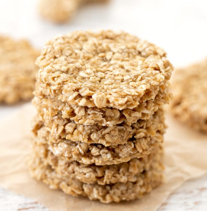 a stack of apple oatmeal cookies.