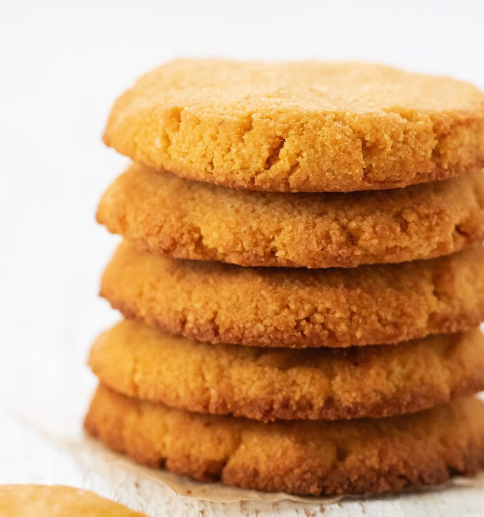 close-up shot of a stack of five cookies.